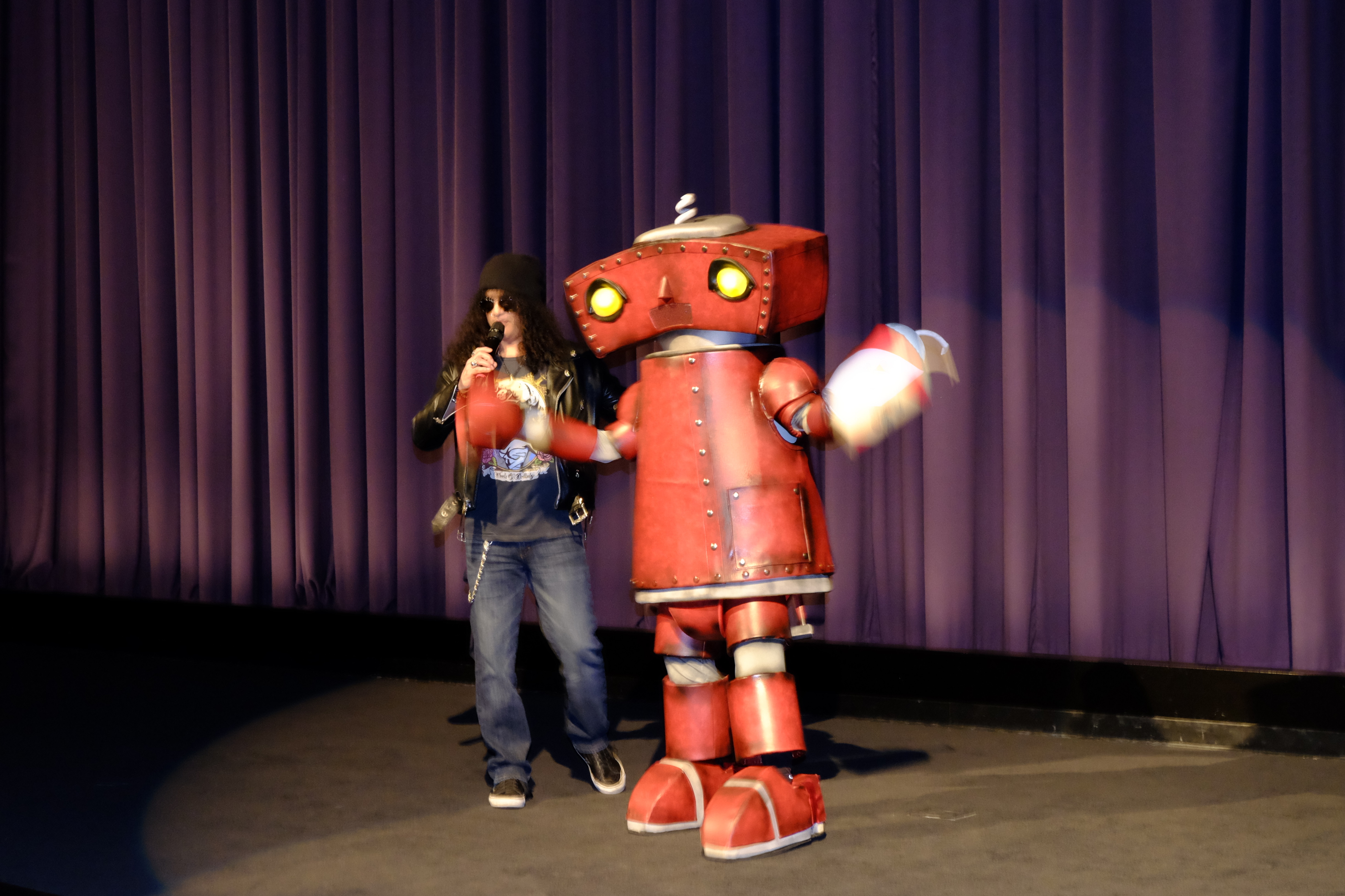 LOS ANGELES, CA - MARCH 10:  Guns N' Roses guitarist Slash and Bad Robot on stage at 10 Cloverfield Lane private Screening Hosted By Slash at Paramount Pictures on March 10, 2016 in Los Angeles, California.  (Photo by Frazer Harrison/Getty Images for Paramount Pictures)